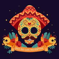 Sugar skull. Day of the dead, Dia de Los Muertos, banner with colorful Mexican flowers. Fiesta, holiday poster, party flyer, funny greeting card - Vector Illustration