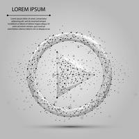 Abstract line and point grey play video icon. Polygonal low poly background with connecting dots and lines. Vector illustration connection structure.