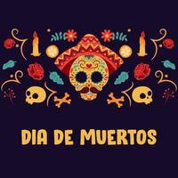 Cráneo del azúcar. Día de los muertos, Día de los Muertos, estandarte con coloridas flores mexicanas. Fiesta, cartel de fiesta, folleto de fiesta, tarjeta de felicitación divertida - Ilustración vectorial