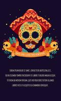 Sugar skull Poster with ribbon, red roses, candle Day of the dead, Dia de Los Muertos, banner with colorful Mexican flowers. Fiesta, holiday poster, party flyer, funny greeting card - Vector Illustration