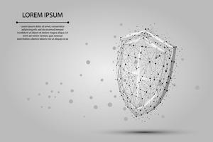 Bouclier polygonal abstraite. Illustration vectorielle de low poly wireframe. Protégez et sécurisez la ligne et le point de concept numérique.