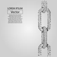 Abstract line and point Chain links. Wireframe concept of connection. Low poly vector illustration