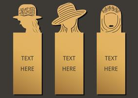 Bookmark woman set vector