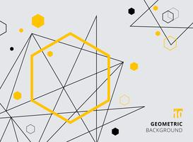 Abstract yellow and black geometric hexagon with lines on gray background.