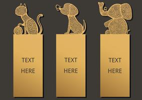 Bookmark animals set vector