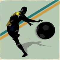 Retro soccer player shooting