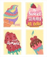 Linda tarjeta de verano de helado derretido con texto