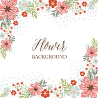 Hand drawn Spring Flower Border Background - Vector Illustration