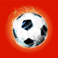Bola de futebol de fogo vermelho