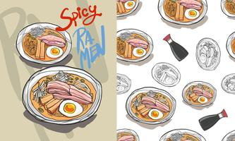 Ramen seamless pattern