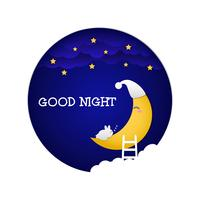 Good night paper style vector