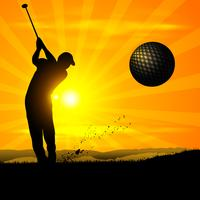 Silueta golfista puesta de sol
