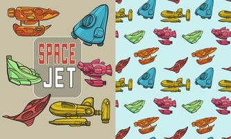 Space rocket jet seamless pattern vector