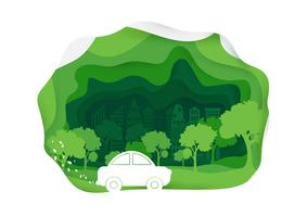 Eco car Paper art style