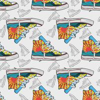 Hand drawn shoes sneakers seamless pattern vector