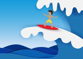 Surfboard Paper art style vector