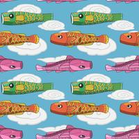 Japanese koi fish flag seamless pattern