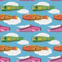 Modelo inconsútil de la bandera japonesa de los pescados del koi