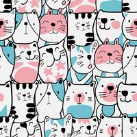 Hand drawn cat cartoon seamless pattern vector