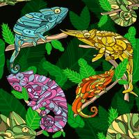Hand drawn chameleon with seamless pattern