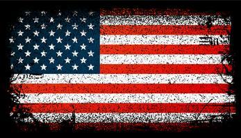 Bandera de usa grunge, bandera de estados unidos. ilustración vectorial de fondo