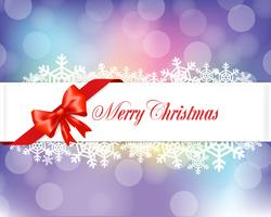 Red ribbons Merry Chrismas banner