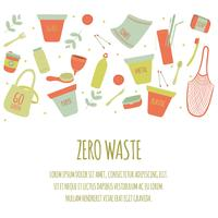 Hand Drawn Zero Waste Element Icon Set Background. Eco Green.Less Plastic Eco Friendly. Eco Vert. Eco Life. Jour de la Terre. Infographie. Vecteur - Illustration