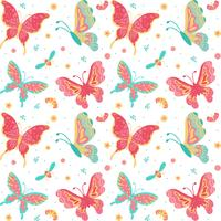 Papillons dessinés à la main, insectes, fleurs et plantes Seamless Pattern isolé sur fond blanc - Illustration vectorielle