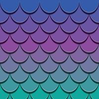 Mermaid tail pattern. Paper cut out 3d fish skin background. Bright spectrum colors. vector