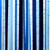 Group of silhouettes trees blue dark light background