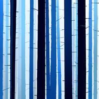 Gruppe Schattenbildbaum-Blaulichthintergrund