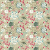 Beauty floral patterns background on brown color. vector Illustration