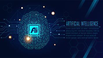 Concepto de cerebro futurista de IA