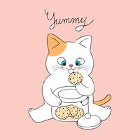 Cartoon cute cat eating cookies vector.