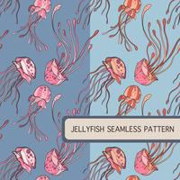 Jellyfish seamless pattern set