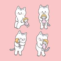 Cartoon cute cat and doll vector.