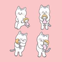 Vector lindo del gato y de la muñeca de la historieta.