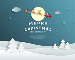 Merry Christmas and Happy new year greeting card in paper cut style. Vector illustration Christmas celebration background. Design for banner, flyer, poster, wallpaper, template.