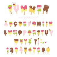 Hello summer ice cream letters isolated on white. Festive paper cut out stickers.
