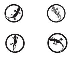 Lézard caméléon gecko silhouette vecteur noir