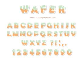 Wafer font. Cute sweet letters and numbers can be used for birthday card, baby shower, Valentines day, sweets shop, girls magazine, collages. Isolated.