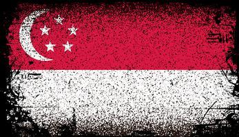 bandiera di singapore grunge. illustrazione di sfondo vettoriale