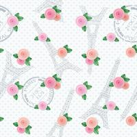 Romantic seamless pattern with Eiffel tower, stamps and roses. For print and web.
