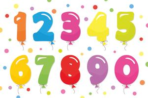 Balloon coloder numbers set. For birthday and party festive design.
