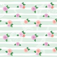 Floral seamless pattern with Eiffel tower, stamps and roses on hand drawn stripped background.