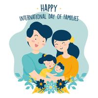 Hand getekend internationale familiedag / internationale dag van gezinnen met bloem krans liefde achtergrond - vader moeder dochter zoon baby vectorillustratie