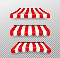 Red and white sunshades for shops Isolated vector on transparent background.