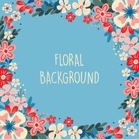 Spring Flower / Floral Border / Wreath Background Printed Template - Vector Illustration - Vector