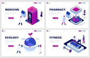 Set di template per pagina di destinazione isometrica per Medicina, Farmacia, Ecologia, Fitness. I concetti isometrici dell'illustrazione moderna di vettore hanno decorato il carattere della gente per lo sviluppo del sito Web.