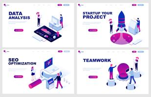 Set of isometric landing page template for Data Analysis, Startup, Seo Optimization, Teamwork. Modern vector illustration isometric concepts decorated people character for website development.